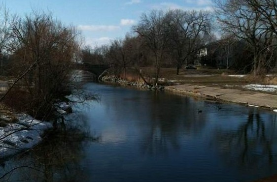 View from the railroad bridge of the Yahara