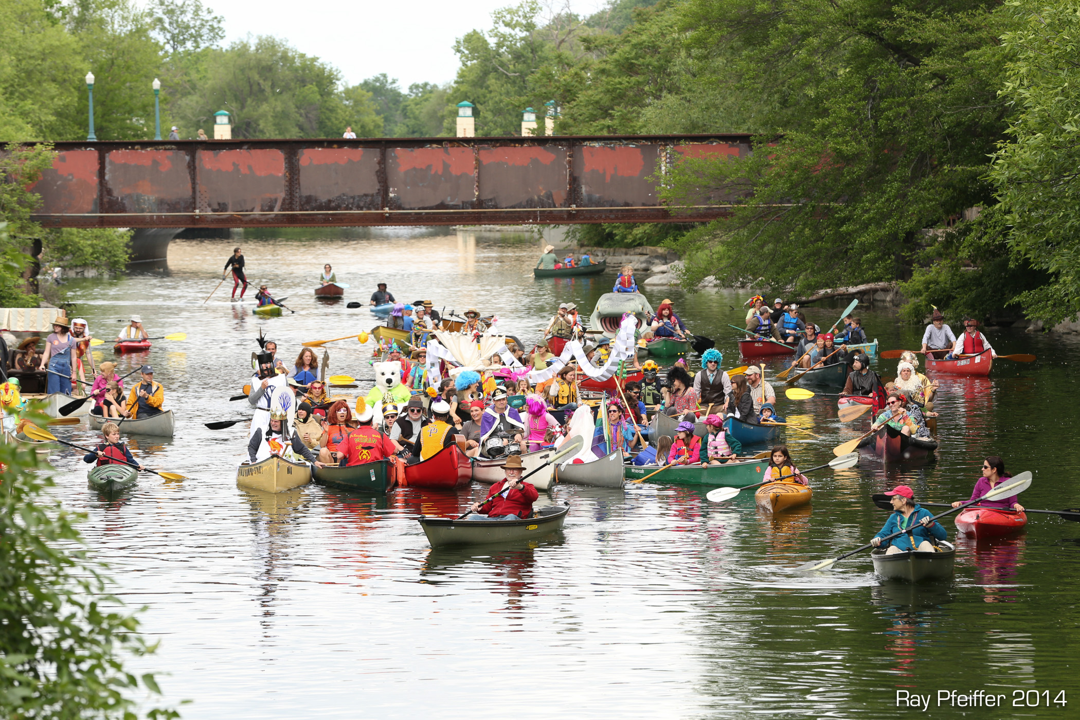 Fools Flotilla under the railroad bridge