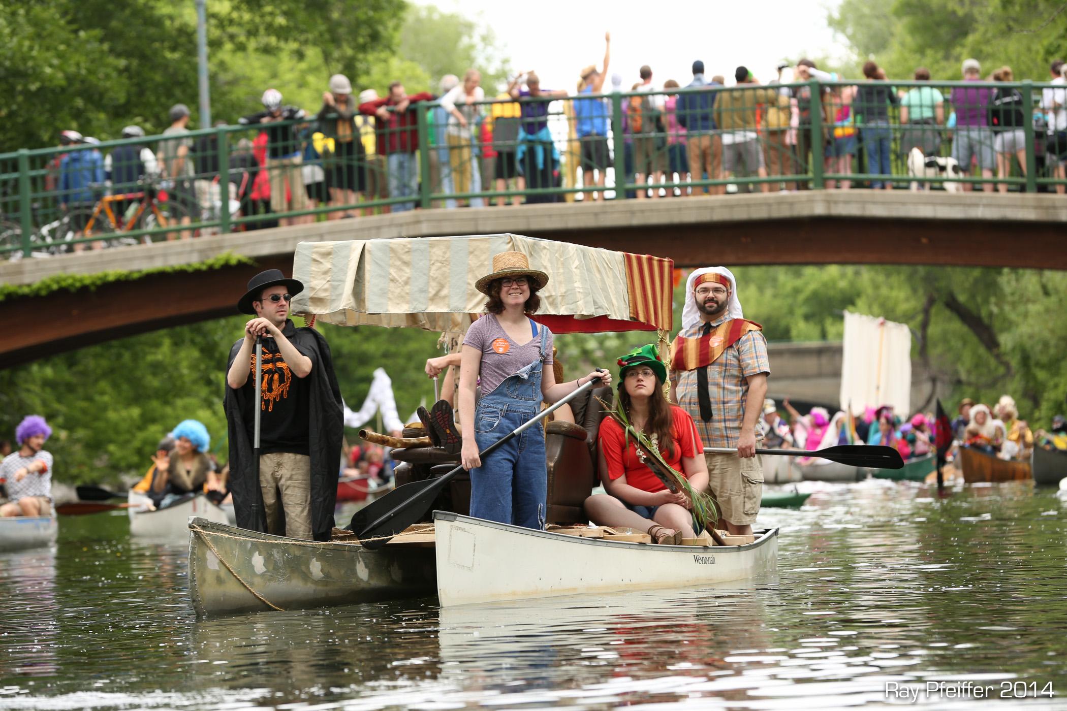 Canoe raft on the Yahara