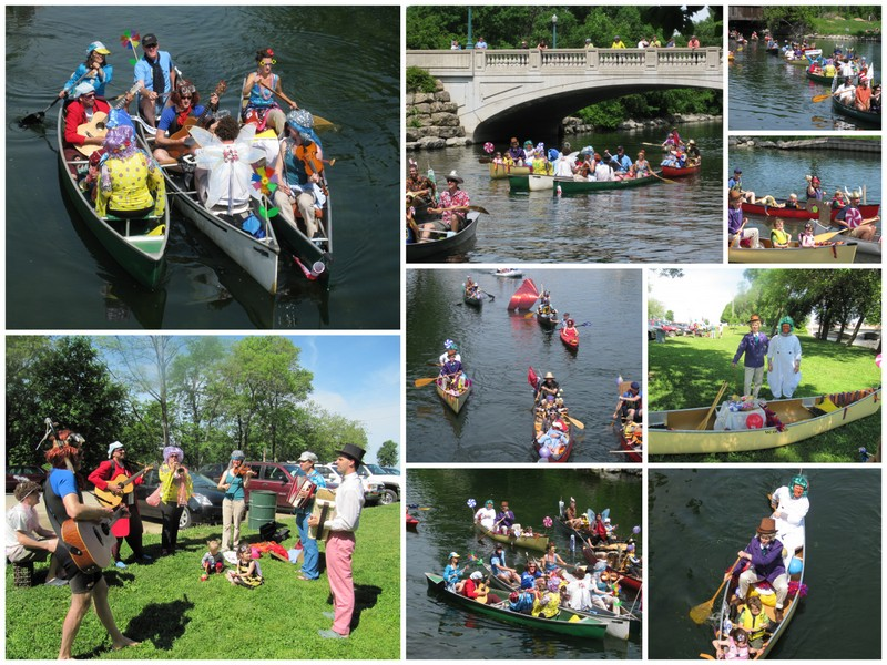 A collage for pictures from the Fools Flotilla showing music makers and costumed participants in boats.